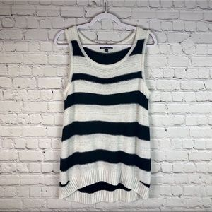 Cable & Gauge Woven Striped Sweater Vest Tank